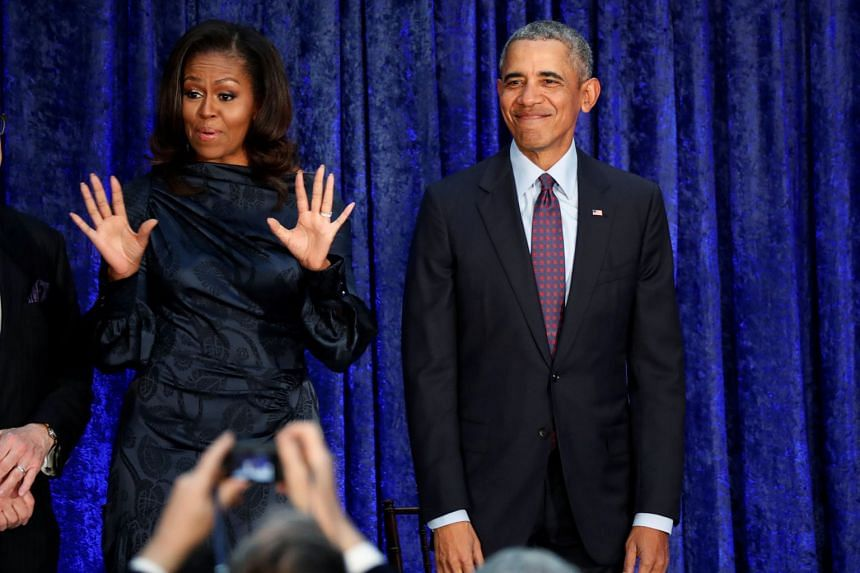 Barack and Michelle Obama at a Washington event in February 2018.