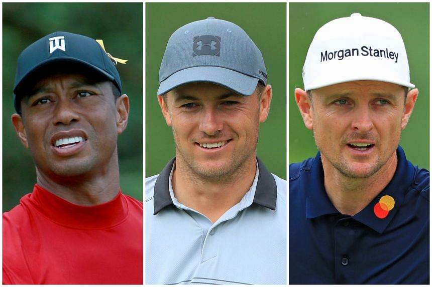 Golfers (from left) Tiger Woods, Jordan Spieth and Justin Rose, who have been grouped together for the first two rounds of the US Open.