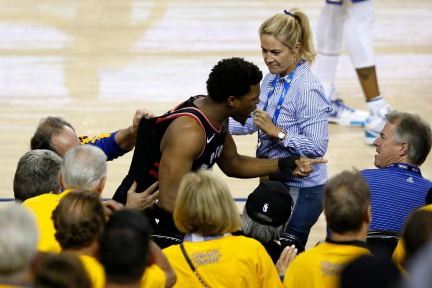 Kyle Lowry of the Toronto Raptors yells at investor Mark Stevens (right) at the ORACLE Arena in Oakland, California, on June 5, 2019.