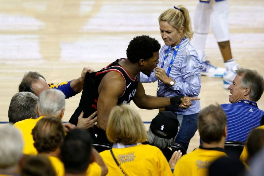 Lowry yells at a fan in the second half against the Golden State Warriors on June 5, 2019.