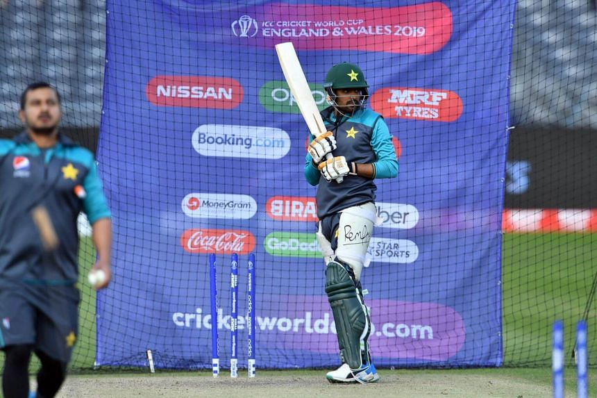 Pakistan's Babar Azam bats in the nets during a practice session in Bristol, on June 6, 2019, ahead of their 2019 ICC Cricket World Cup match against Sri Lanka.
