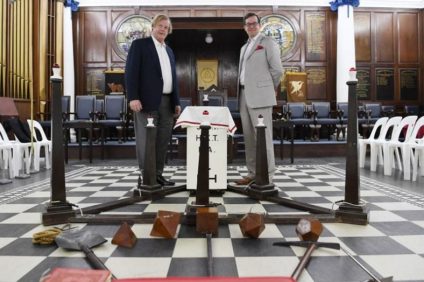 Two of the most senior freemasons in the world, Sir David Wootton (left), assistant grand master of the United Grand Lodge of England and Dr David Staples, grand secretary of the United Grand Lodge of England, pose for a picture on June 7, 2019.