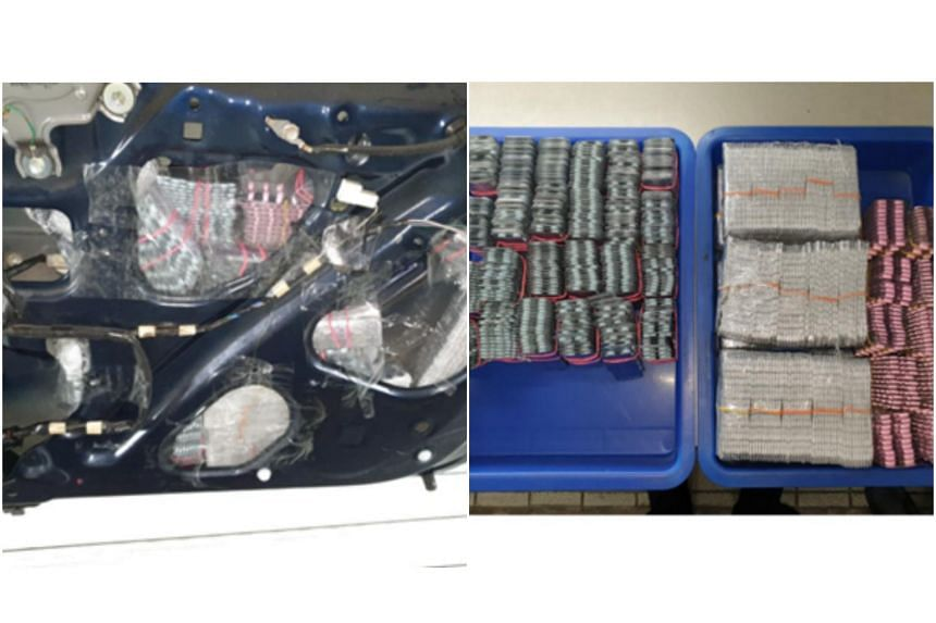 The Immigration and Checkpoints Authority seized 1,520 blister strips of illegal medicines hidden in the rear door panel of a car at Woodlands Checkpoint on June 6, 2019.