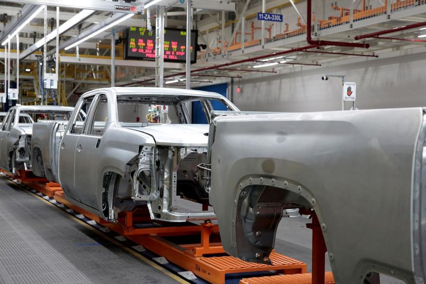 The frames of heavy-duty pickup trucks on an assembly line in a plant in Flint, Michigan, on Feb 5, 2019.