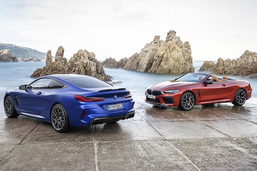 BMW M8 Coupe (left) and M8 Convertible (right).