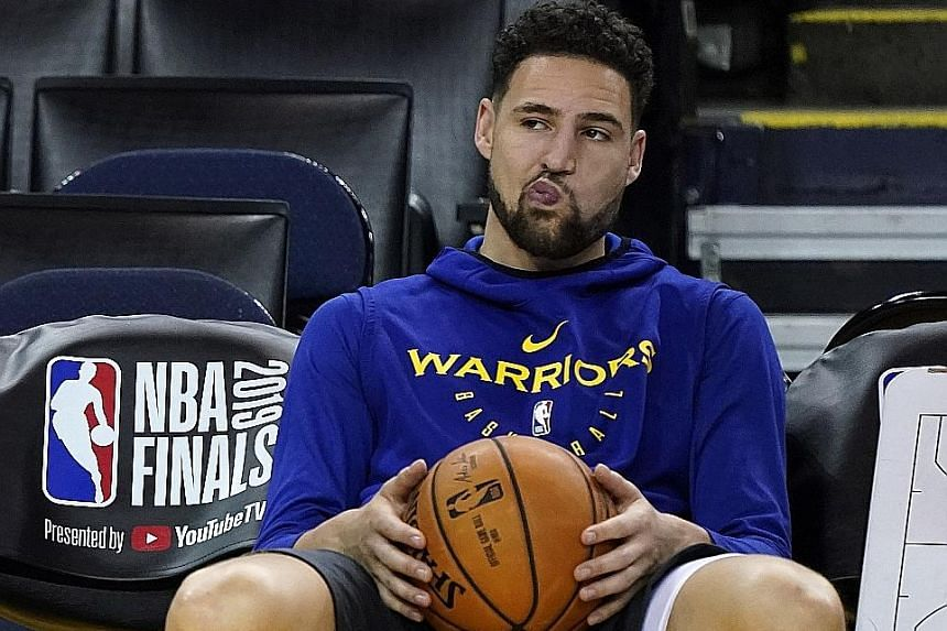 Golden State's Klay Thompson during practice at the Oracle Arena in Oakland, California. With Kevin Durant out for Game 4, the two-time defending NBA champions badly require the guard's presence on both ends.