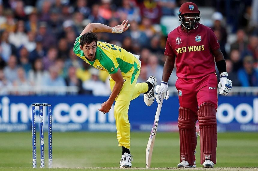 Australia's Mitchell Starc bowling against West Indies in their World Cup match at Trent Bridge, Nottingham. He took five wickets in Australia's tough 15-run win, while fellow fast bowler Nathan Coulter-Nile, though without a wicket, managed a superb