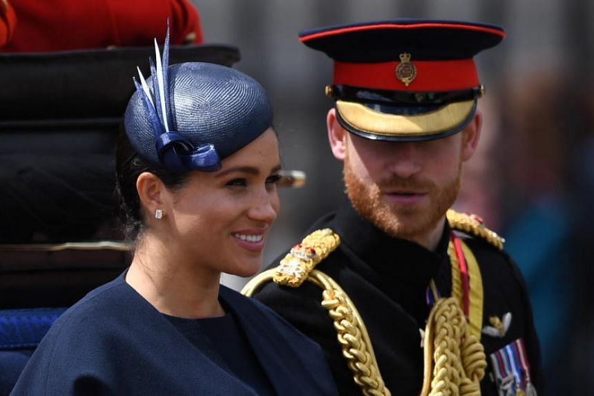 Britain's Prince Harry and his wife Meghan at the annual Trooping the Colour ceremony in London on June 8, 2019.