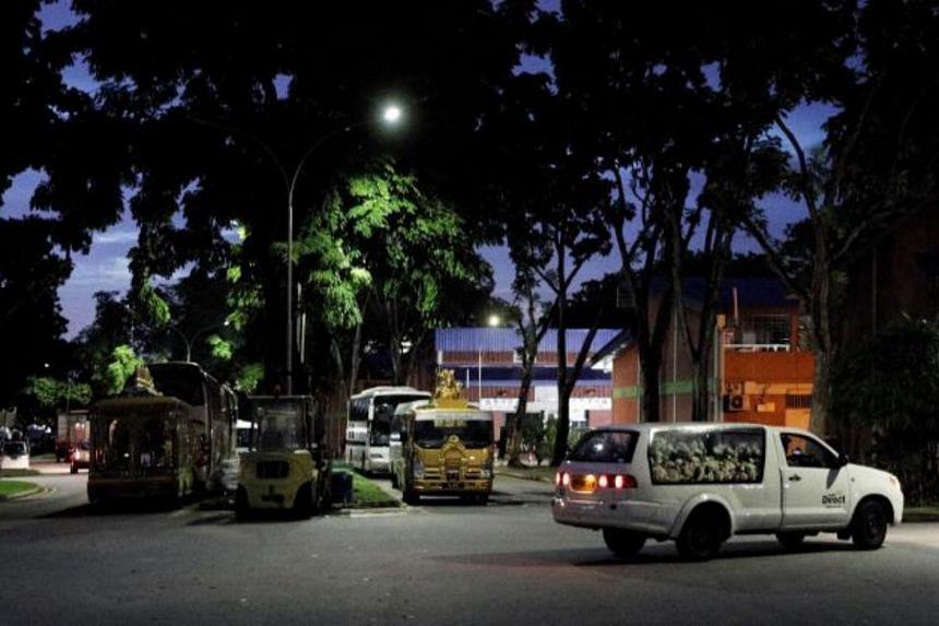 A hearse near funeral parlours along Geylang Bahru Terrace.