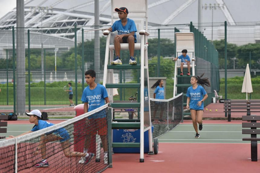 Davis Cup ball kids training at Kallang Tennis Centre. The Davis Cup Asia/Oceania Group 3 play-off will take place at the OCBC Arena from June 26-29, 2019.