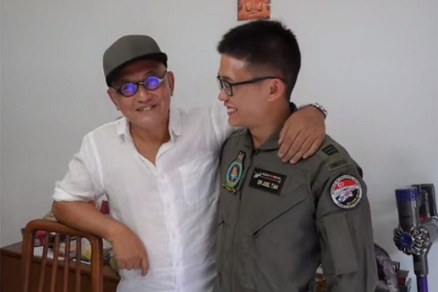 Mr John Low with one of his rescuers from the Republic of Singapore Air Force on June 7, 2019, a month after the incident.