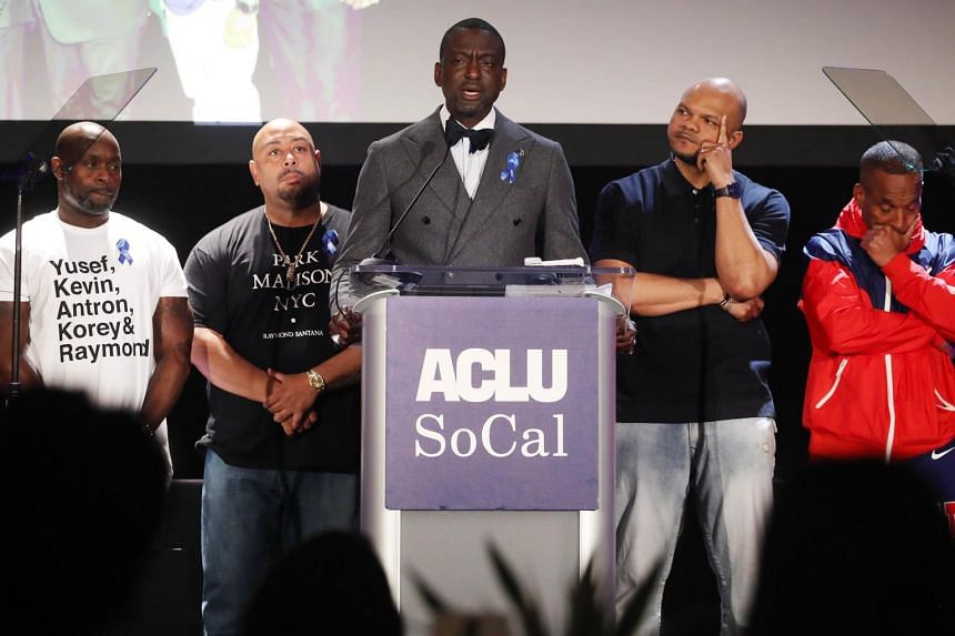 (From left) Antron McCray, Raymond Santana, Yusef Salaam, Kevin Richardson and Korey Wise on stage at the American Civil Liberties Union of Southern California's 25th annual awards on June 7, 2019.