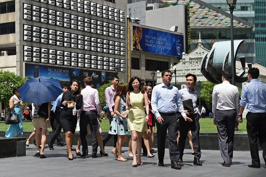 Office workers in Raffles Place.