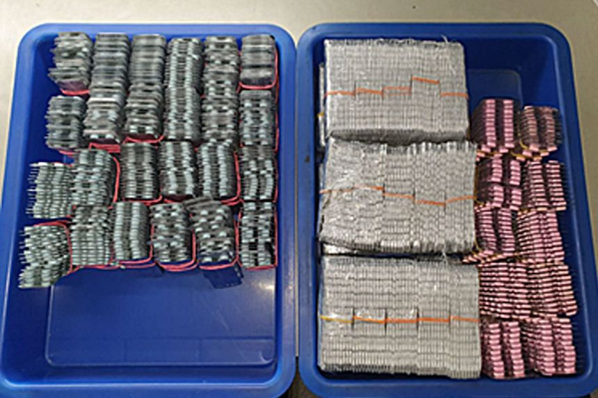 The stash of illegal medicine was concealed in the rear door panel of a Singapore-registered car, said the ICA in a Facebook post yesterday.