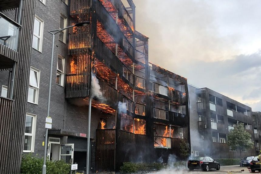 Six floors of the building are alight.