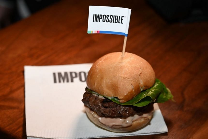 The Impossible Burger 2.0 being introduced at a press event during the CES 2019 in Las Vegas, Nevada, on Jan 7, 2019.