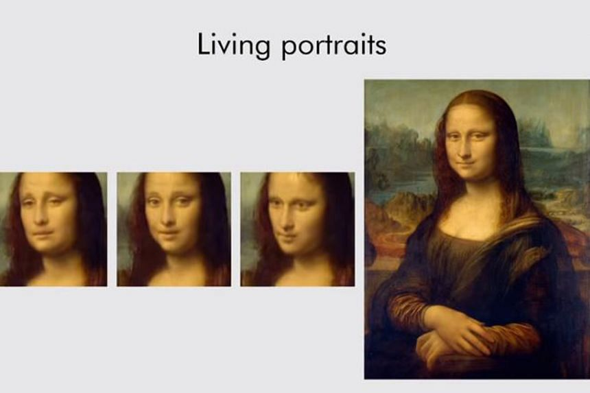 Screengrabs from a YouTube video showing how modern artificial intelligence can create fairly realistic fake videos from single images, such as those of the Mona Lisa, Marilyn Monroe and Albert Einstein.