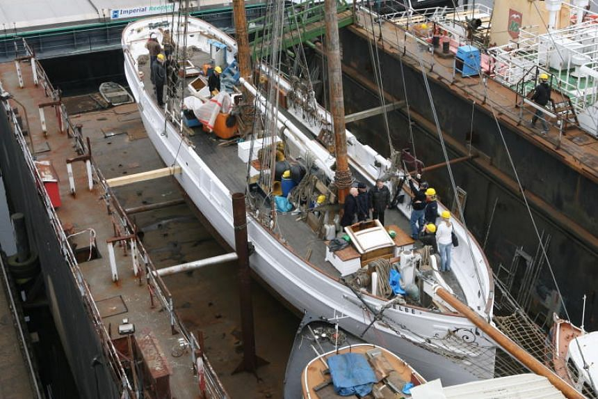 The historic pilot schooner No. 5 Elbe lying in a dry dock while undergoing extensive renovation, on April 12, 2006.