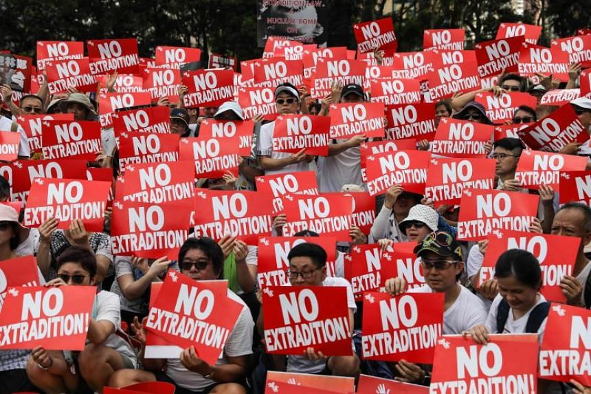 Protesters attending a rally against an extradition law proposal in Hong Kong on June 9, 2019.