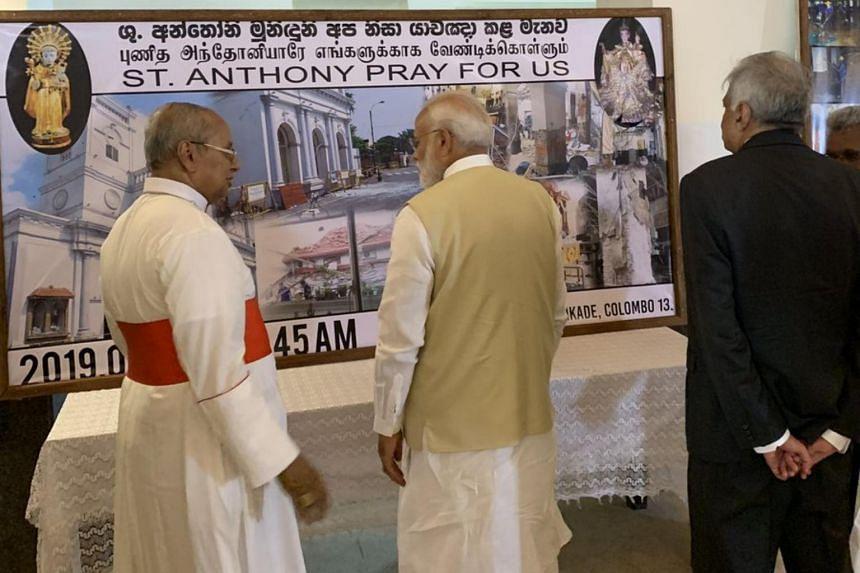 Indian Prime Minister Narendra Modi visiting St Anthony's Shrine on June 9, 2019.