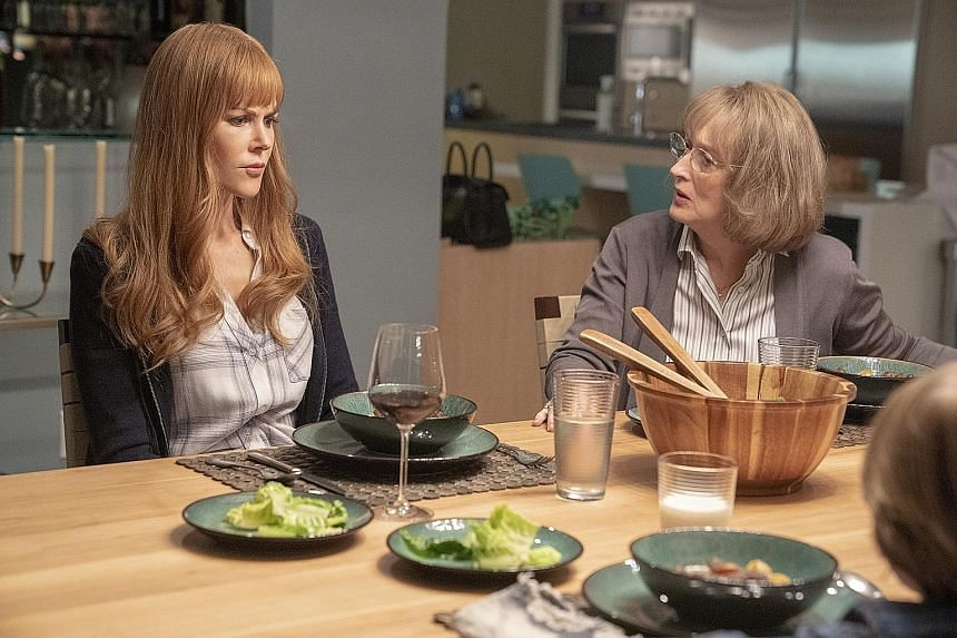 Meryl Streep (right) plays Nicole Kidman's (left) mother-in-law in Big Little Lies.