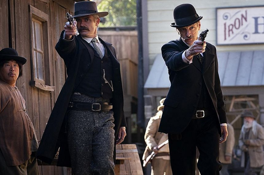 Ian McShane, John Hawkes (right) and Timothy Olyphant (left) star in Deadwood: The Movie.