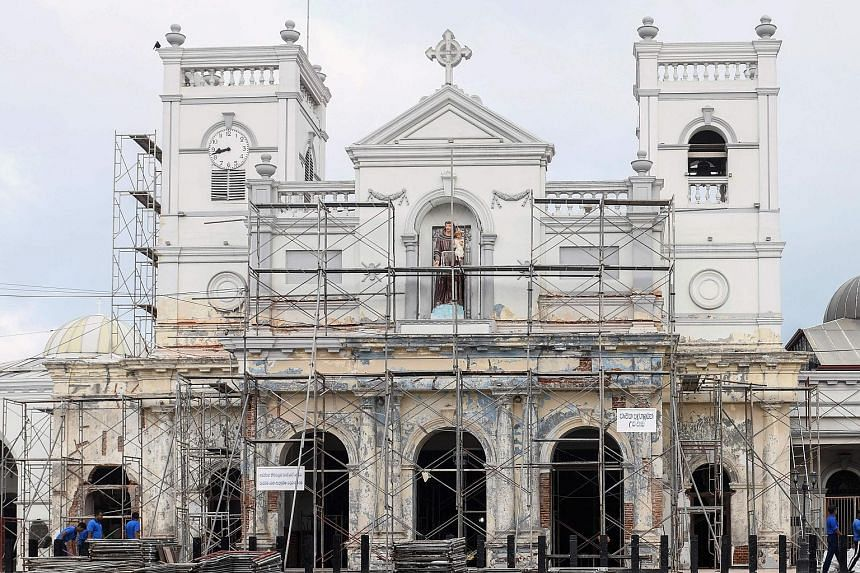 St Anthony's Shrine in Colombo (top), two weeks after the April 21 attacks. Speaker Karu Jayasuriya (right) has told President Maithripala Sirisena that he will not call off the select committee for the investigation.