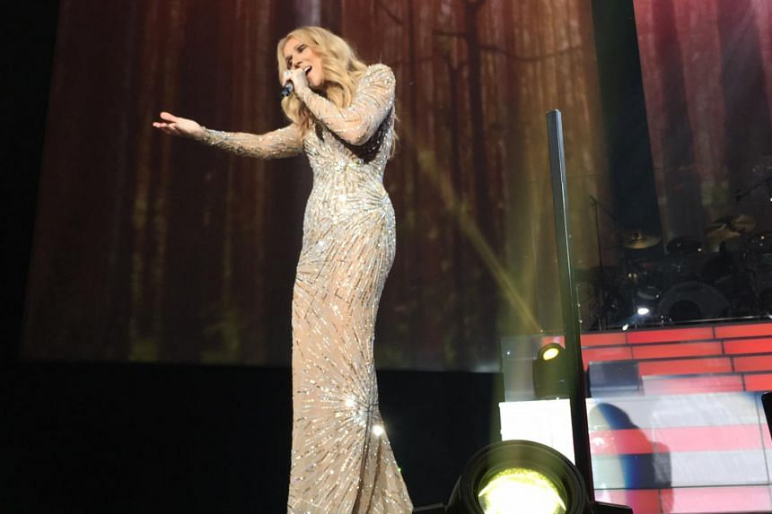 Celine Dion performing at The Colosseum in Las Vegas on May 16, 2017.