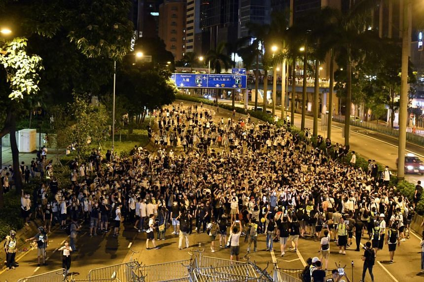 Protesters clash with police after a rally against amendments to an extradition Bill in Hong Kong, on June 10, 2019.