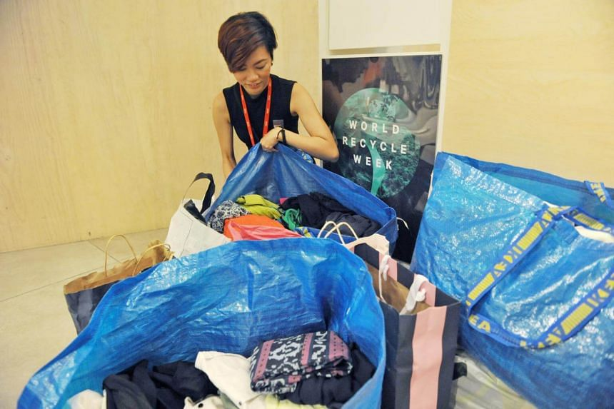 Recycled clothing collected at H&M's outlet in Orchard Building.