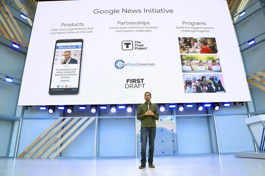 Google's chief executive Sundar Pichai speaking about Google News at a 2018 conference. A new study estimates that Google made nearly as much as the United States news industry as a whole from digital advertising on news content last year.