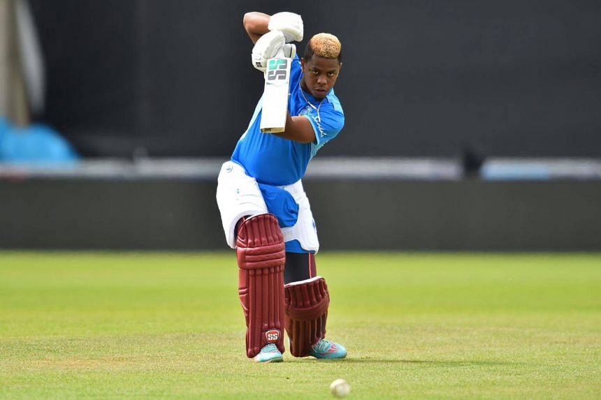 West Indies' Shimron Hetmyer bats during a training session at the Rose Bowl in Southampton, on June 9, 2019.