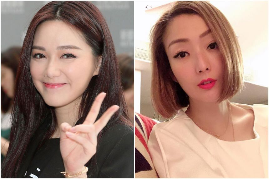 Roxanne Tong (left) had difficulty delivering her lines on cue on the first day on set, while Sammi Cheng seems to still have difficulty coming to terms with the scandal surrounding her husband Andy Hui.