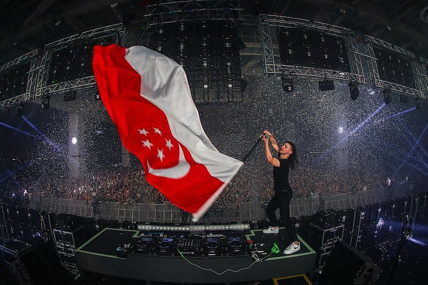 Porter Robinson, whose work has video-game and anime elements, had the crowd eating out of his hands with his brand of euphoric electronic music. Sporting his signature all-black outfit and with half of his head shaved, Grammy-winner Skrillex (above)