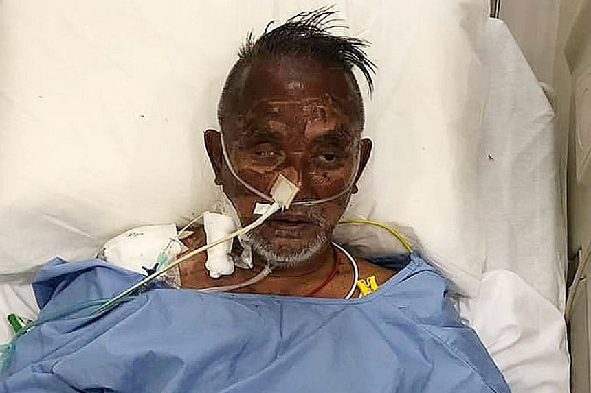 Above: Mr John Low speaking to The Straits Times via video call from Vietnam yesterday. Left: Mr Low recovering in hospital last month after he was rescued by a passing ship. PHOTOS: ZHANG XUAN, JOHN LOW/FACEBOOK Mr John Low with the RSAF search-and-