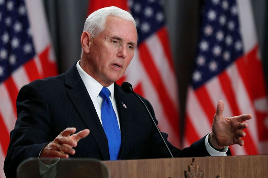 Mike Pence speaking during a press conference in Canada on May 30, 2019.