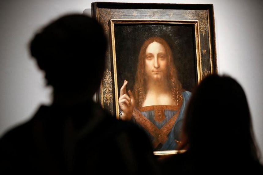 """Leonardo da Vinci's """"Salvator Mundi"""" on display at Christie's auction house in London on Oct 24, 2017. The painting sold for a record US$450 millions on Nov 15, 2017."""