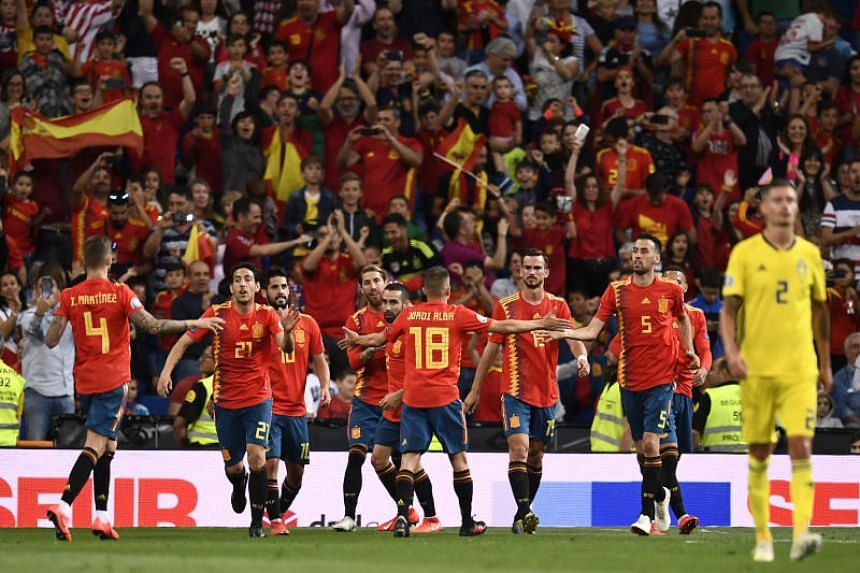 The win took Spain on to 12 points at the top of Group F after four games.
