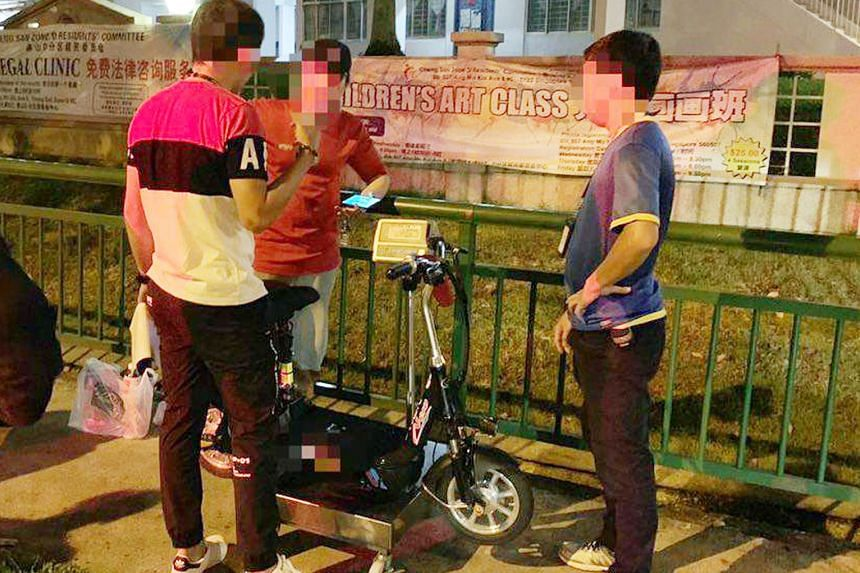 Clockwise from far right: A rider found displaying a false identification mark on his e-scooter; a user caught riding a non-compliant PMD on a road in Ang Mo Kio; a rider who was found using a PMD on a road, and who failed to stop when requested to b