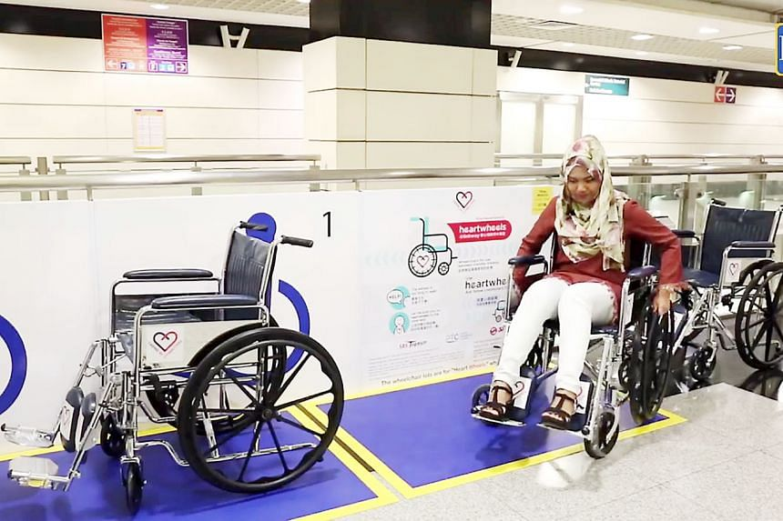 The Heartwheels@Linkway project provides wheelchairs for elderly commuters and those with physical difficulties at MRT stations, while Heart Zones are designated areas for elderly and visually disabled commuters.