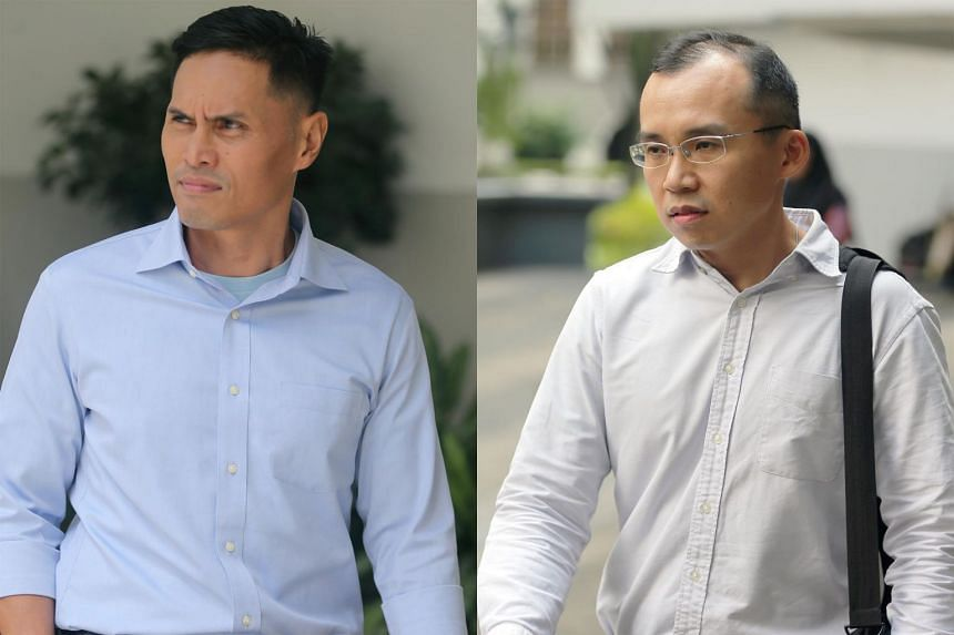 Nazhan Mohamed Nazi (left) and Kenneth Chong Chee Boon allegedly failed to prevent a group of officers from making Corporal Kok Yuen Chin enter the pump well, thereby endangering his life.