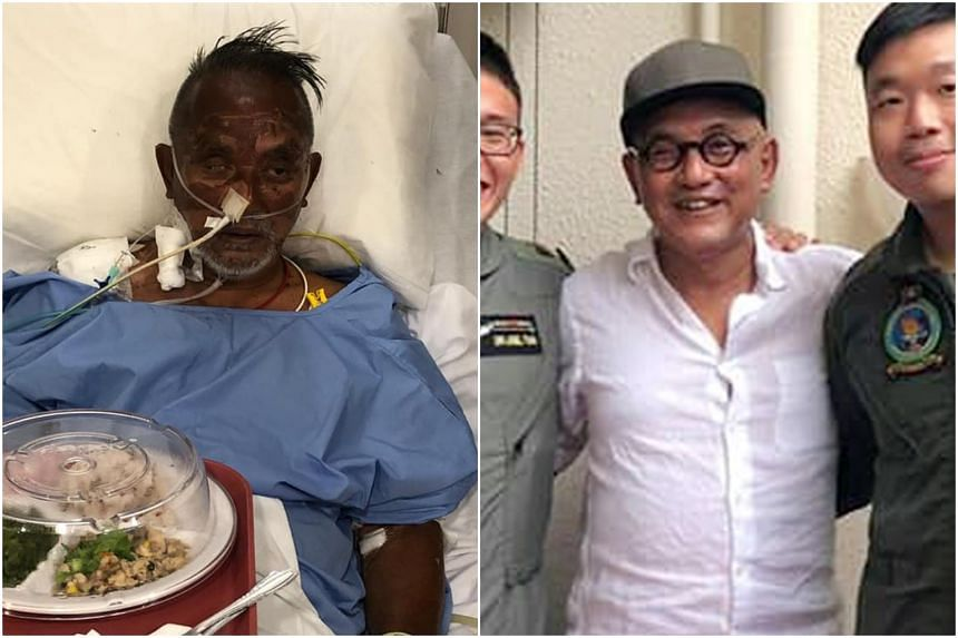 Mr Low recovering in hospital last month (left) and after he was discharged, taking a picture with his rescuers from the Republic of Singapore Air Force's search-and-rescue team.