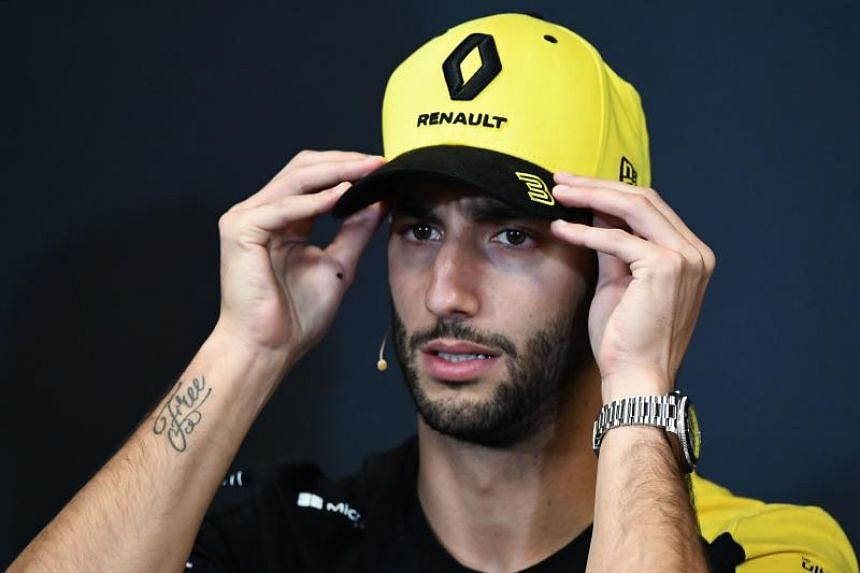Renault's Australian driver Daniel Ricciardo looks on during a press conference at the Circuit de Monaco in Monte Carlo on May 22, 2019.