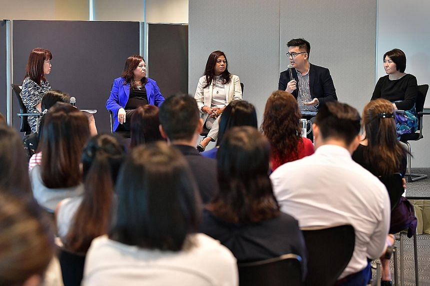 The panellists yesterday comprised (from left) Great Place to Work® Institute managing director Evelyn Kwek, who was moderator; aAdvantage Consulting director Jacqueline Gwee; Ms Lekha George, head of human resources for Asean and Korea at Cisco Sys
