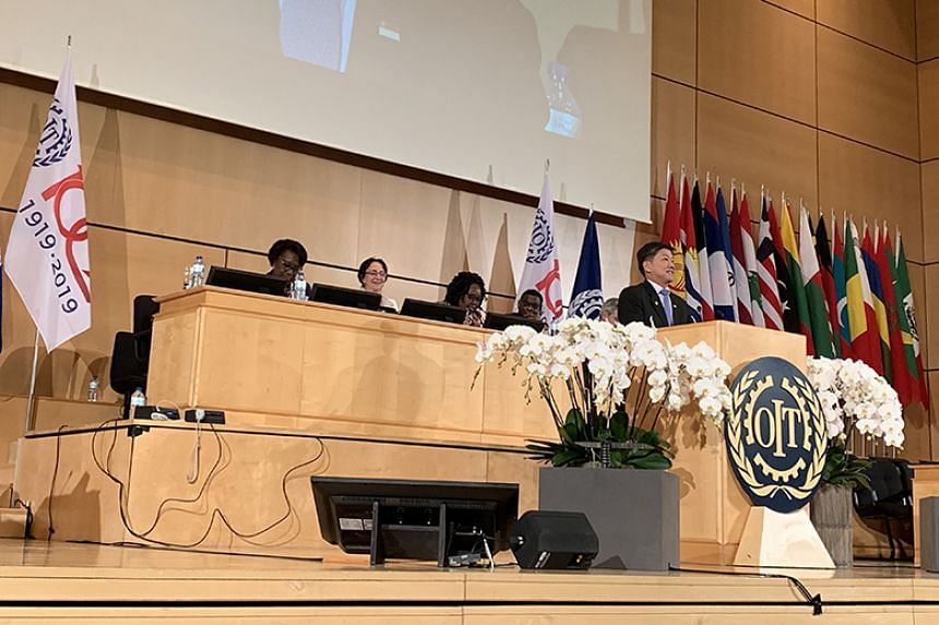 National Trades Union Congress Secretary-General Ng Chee Meng giving his plenary speech at the International Labour Conference in Geneva, Switzerland, on June 12, 2019.