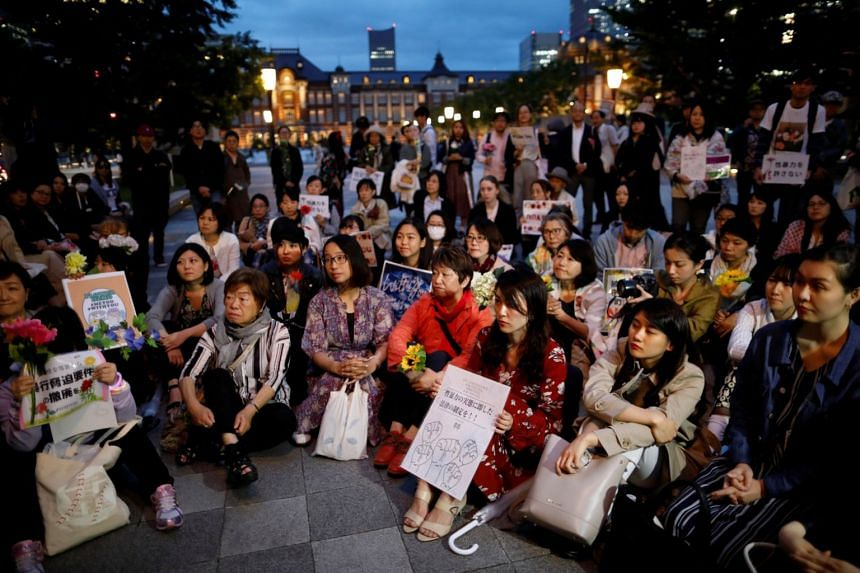 Protesters gather at a rally to call for revision of an anti-rape law in Tokyo, Japan, on June 11, 2019.