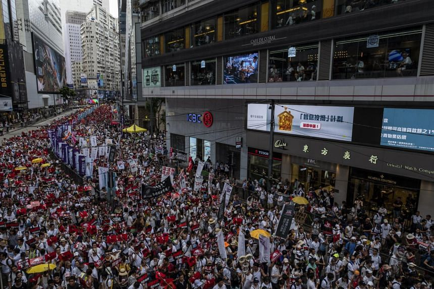 Protesters in Hong Kong showing their opposition to a plan to allow extraditions to mainland China, on June 9, 2019.
