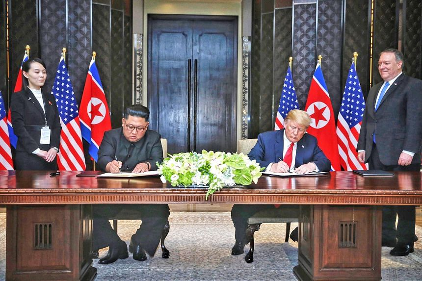 US President Donald Trump and North Korean leader Kim Jong Un signing a joint declaration to establish new ties after their historic summit in Singapore a year ago today.