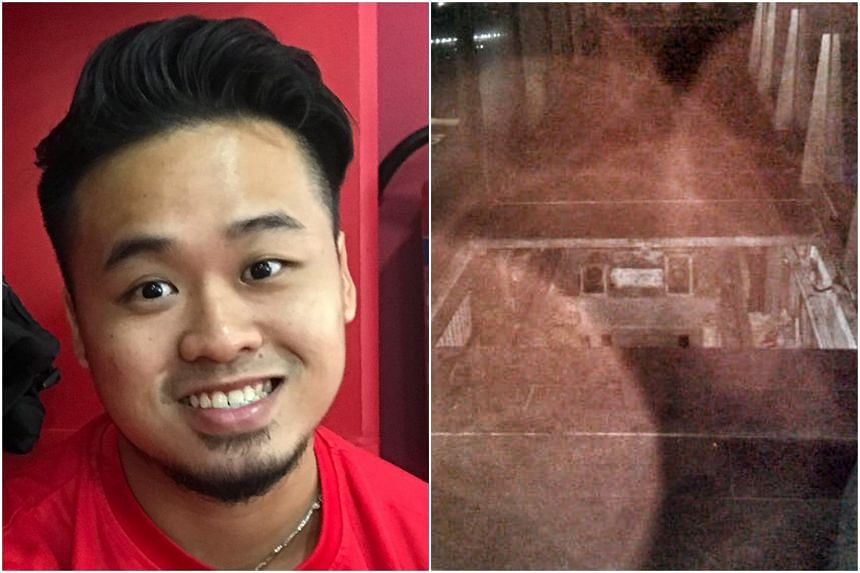 Part-time guard Shaun Tung fell into a construction manhole trying to keep two customers away from a barricaded area.
