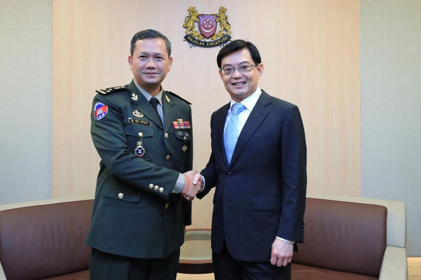 Deputy Prime Minister Heng Swee Keat with Lieutenant-General Hun Manet, Commander of the Army of the Royal Cambodian Armed Forces, on June 12, 2019.